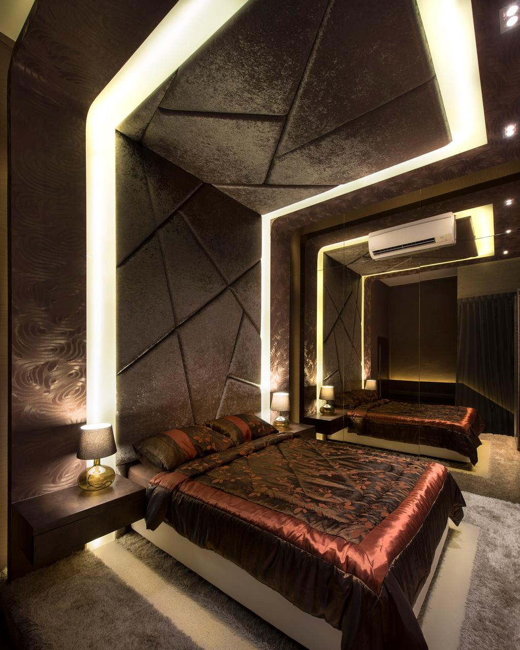 Beaux Monde Show Room (Joo Chiat), Commercial, Interior Designer, Beaux Monde, Modern, Bedroom, Modern Contemporary Bedroom, King Size Bed, Cozy, Cosy, Hidden Interior Lighting, Classy, Mirror Panel, Lamp, Appliance, Electrical Device, Oven