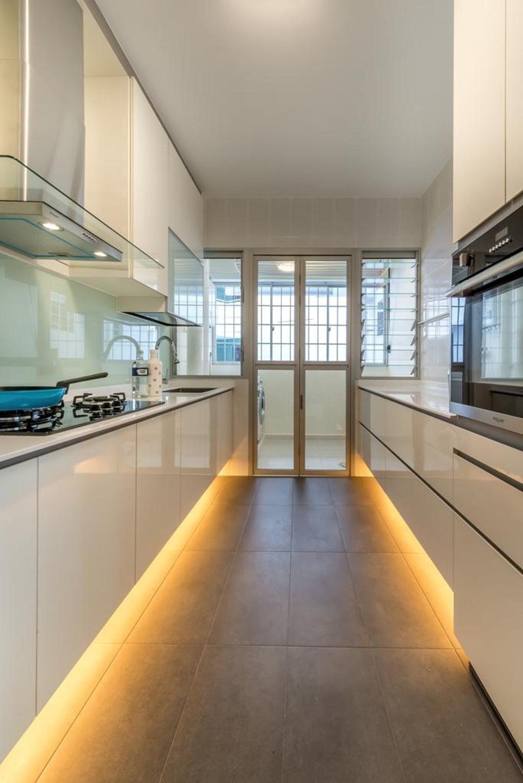 Modern, HDB, Kitchen, Woodlands Crescent, Interior Designer, One Design Werkz, Concealed Lighting, Neutral Palette, White Cabinet, White Drawers, Patio Doors, Kitchen Backsplash