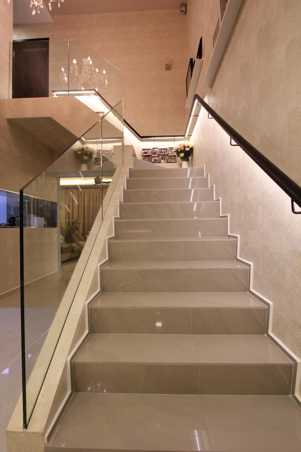 Contemporary, HDB, Living Room, Hougang Street 51, Interior Designer, Beaux Monde, Banister, Handrail, Toilet
