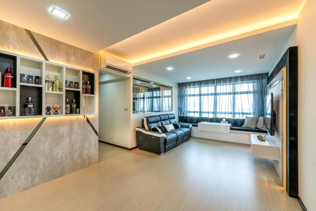Woodlands Crescent, One Design Werkz, Modern, Living Room, HDB, Recessed Lighting, Concealed Lighting, Wooden Flooring, Laminate Flooring, Black White Sofa, Feature Wall, Grey Wall, Gray Wall, Open Display Shelf, See Through Curtains, Translucent Curtains