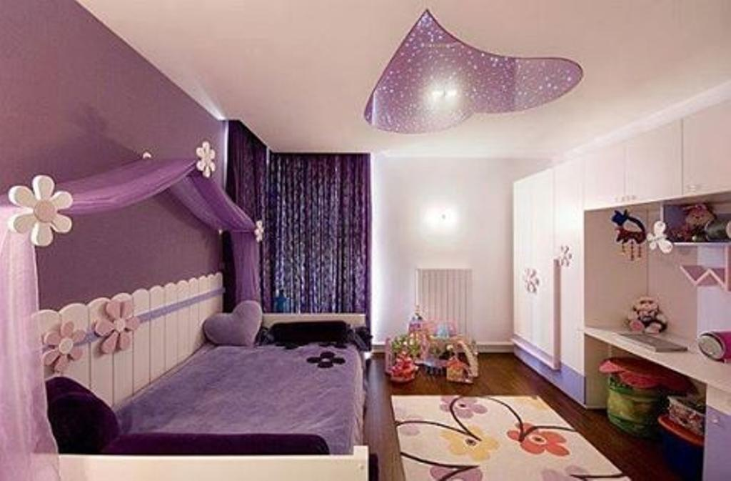 Modern, Condo, Bedroom, Reflections, Interior Designer, Beaux Monde, Modern Contemporary Bedroom, Girls Room, Purple Bed, Purple Walls, Rug, Wooden Floor, Sling Curtain, Wall Mounted Desk, White Wardrobe, Indoors, Room, Interior Design, Dining Table, Furniture, Table