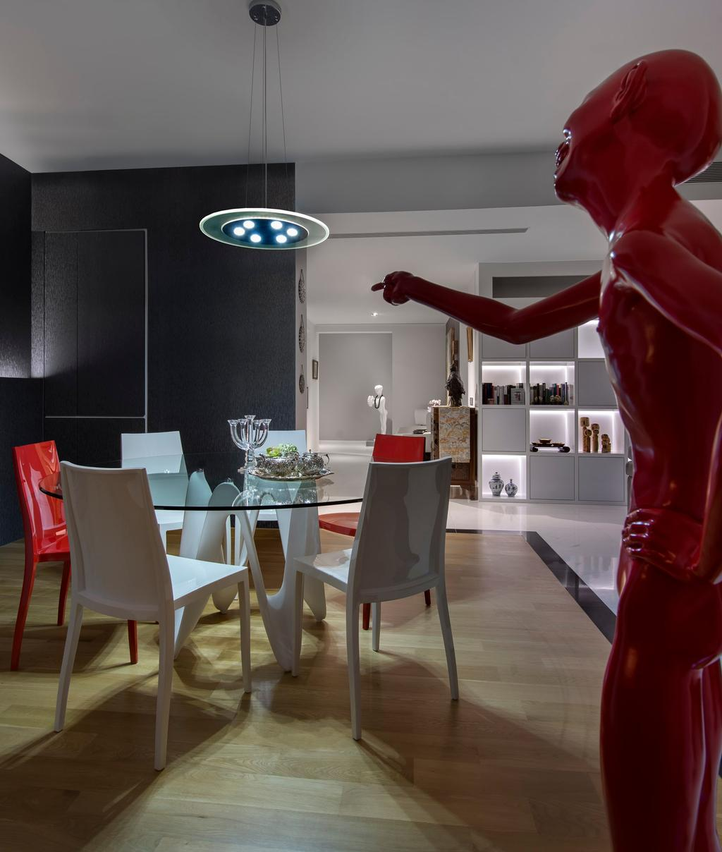 Modern, Condo, Dining Room, Reflections, Interior Designer, Beaux Monde, Modern Contemporary Dining Room, Wooden Floor, Hanging Lights, Round Glass Table, Dining Chair, White Dining Chair, Chair, Furniture, Dining Table, Table, Indoors, Interior Design, Room