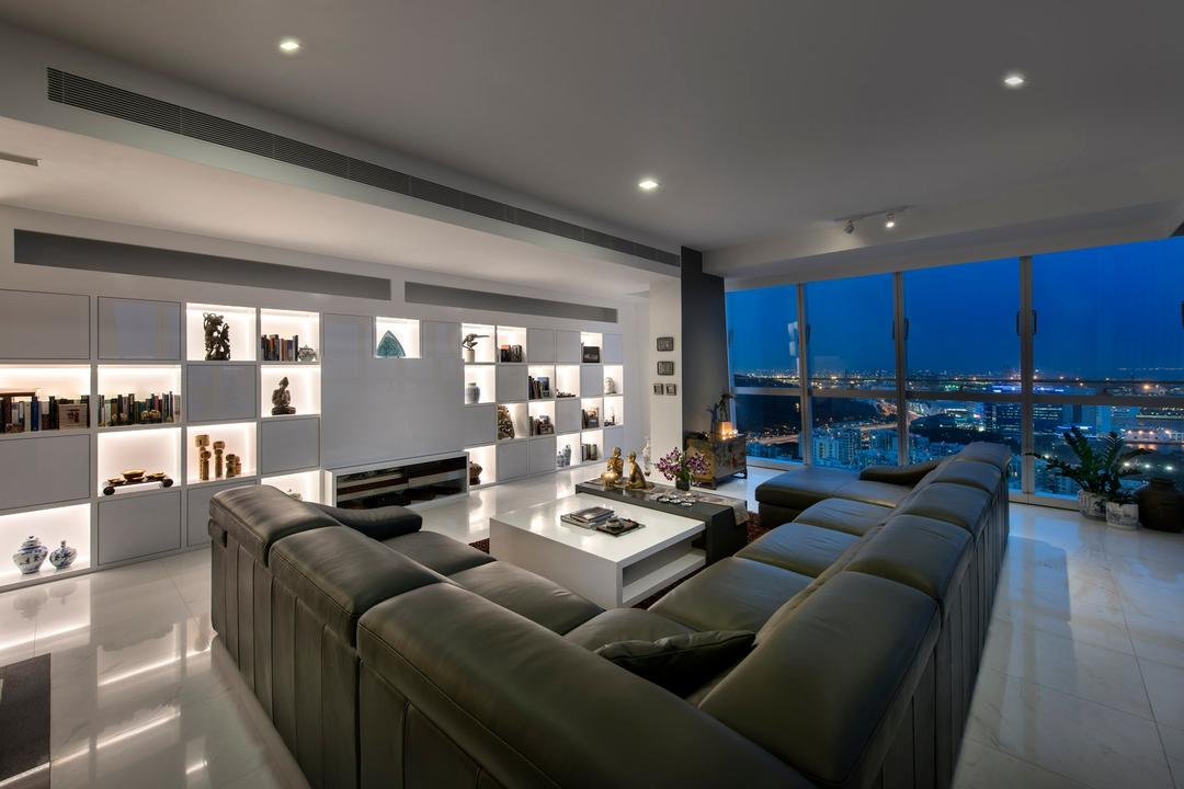 Reflections, Beaux Monde, Modern, Living Room, Condo, Modern Contemporary Living Room, Recessed Lights, Hidden Interior Lighting, Built In Shelves, Glass Panel, Sectional Sofa, Spacious, Couch, Furniture, Chair, Conference Room, Indoors, Meeting Room, Room