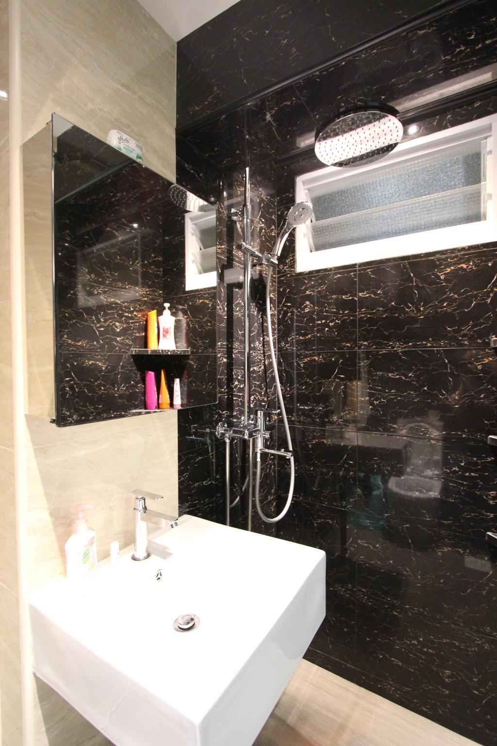 Modern, HDB, Bathroom, Selegie, Interior Designer, Beaux Monde, Modern Contemporary Bathroom, Wall Mounted White Sink, Marble Wall, Hidden Interior Lighting, Showerhead