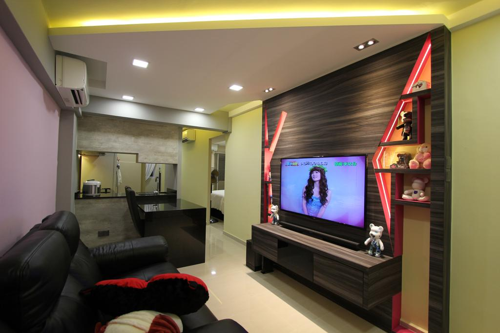 Modern, HDB, Living Room, Selegie, Interior Designer, Beaux Monde, Couch, Furniture, Electronics, Entertainment Center, Home Theater, Lcd Screen, Monitor, Screen