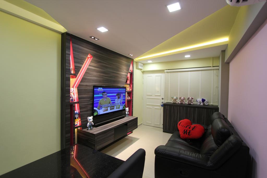Modern, HDB, Living Room, Selegie, Interior Designer, Beaux Monde, Electronics, Entertainment Center, Home Theater, Building, Housing, Indoors, Loft, Couch, Furniture, Chair