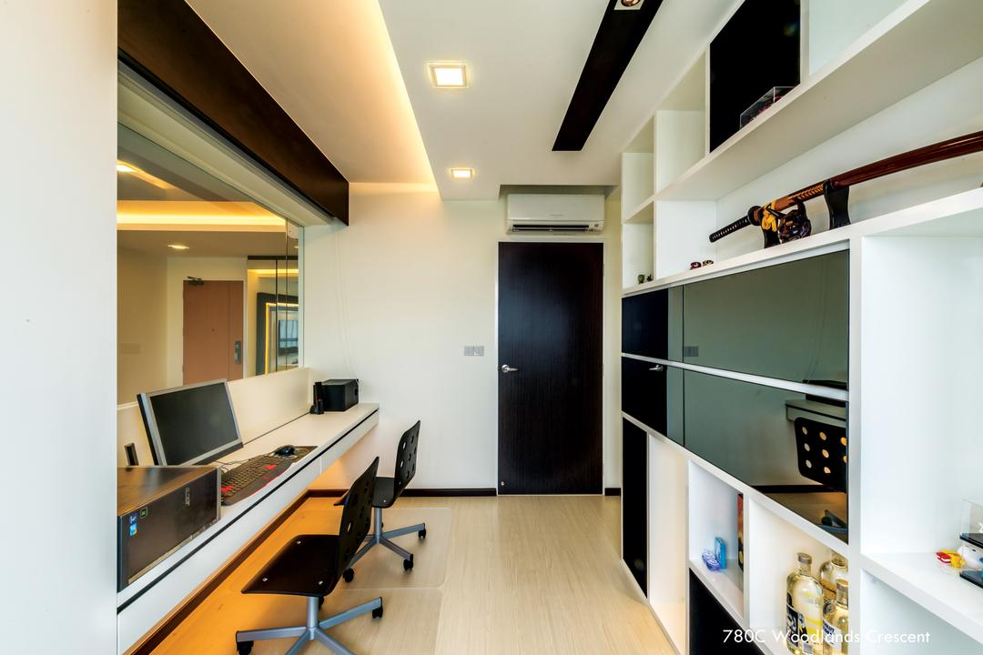 Woodlands Crescent, One Design Werkz, Modern, Study, HDB, Black White Theme, Neutral Palette, Open Shelf, Study Desk And Chairs, Swivel Chairs, Swivel Armless Chair, Mirror, Concealed Lighting, False Ceiling, Recessed Lighting, Black Door, Glossy Black Cabinet