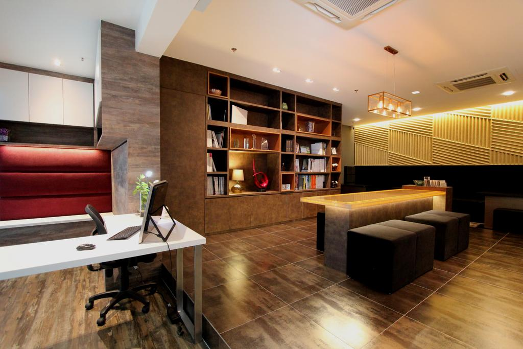 Beaux Monde Show Room (Ubi), Commercial, Interior Designer, Beaux Monde, Contemporary, Wooden Floor, Low Back Seat, White Desk, Wooden Shelves, Recessed Lights, Wooden Table, Black Chair, Wooden Wall, White Cabinet, Hardwood, Wood, Indoors, Interior Design, Chair, Furniture