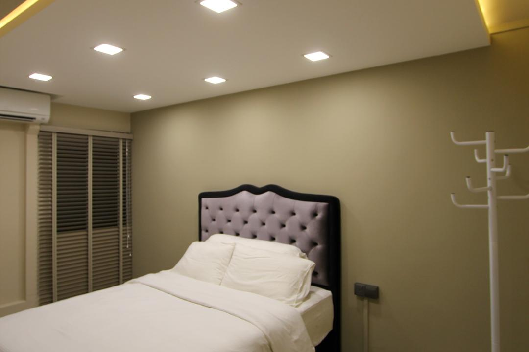 Selegie, Beaux Monde, Modern, Bedroom, HDB, Wooden Floor, , Recessed Lights, Hidden Interior Lighting, White Bed, Cozy, Cosy, Bedding Platform, Wooden Wardrobe, Indoors, Interior Design, Room