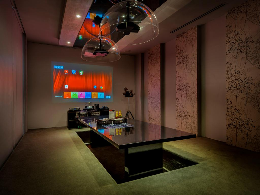 Screen Bar, Commercial, Interior Designer, One Design Werkz, Traditional, Feature Wall, False Ceiling, Recessed Lighting, Pendant Lighting, Black Conference Table