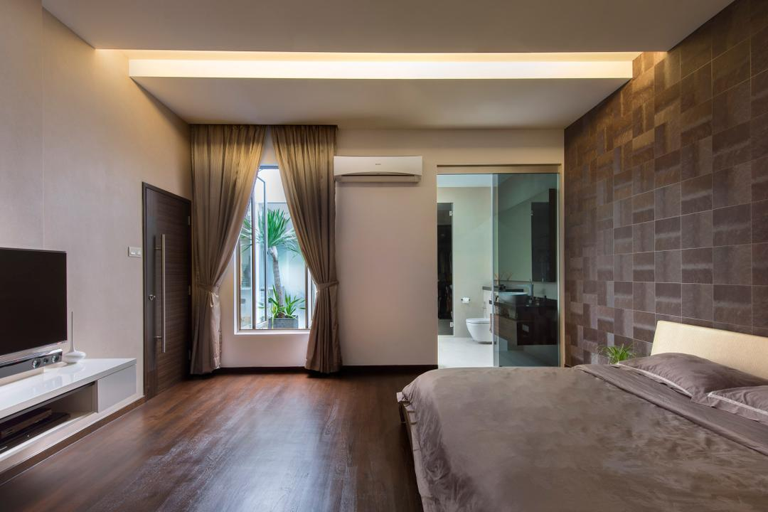 Sirat Road, Beaux Monde, Modern, Bedroom, Landed, Wooden Floor, Wall Mounted Television, Television Console, Sling Curtain, King Size Bed, Cozy, Cosy, Spacious, Hidden Interior Lighting, Curtain, Home Decor, Window, Flooring, Indoors, Interior Design