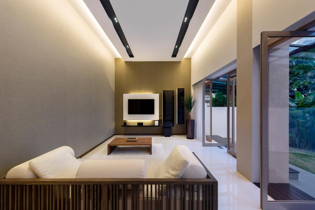 Sirat Road, Beaux Monde, Modern, Living Room, Landed, Modern Contemporary Living Room, Hidden Interior Lighting, Wall Mounted Television, Wooden Sofa, Wooden Table, Marble Floor, Recessed Lights, Glass Panelled Door, Crib, Furniture, Indoors, Room, Electronics, Entertainment Center, Home Theater