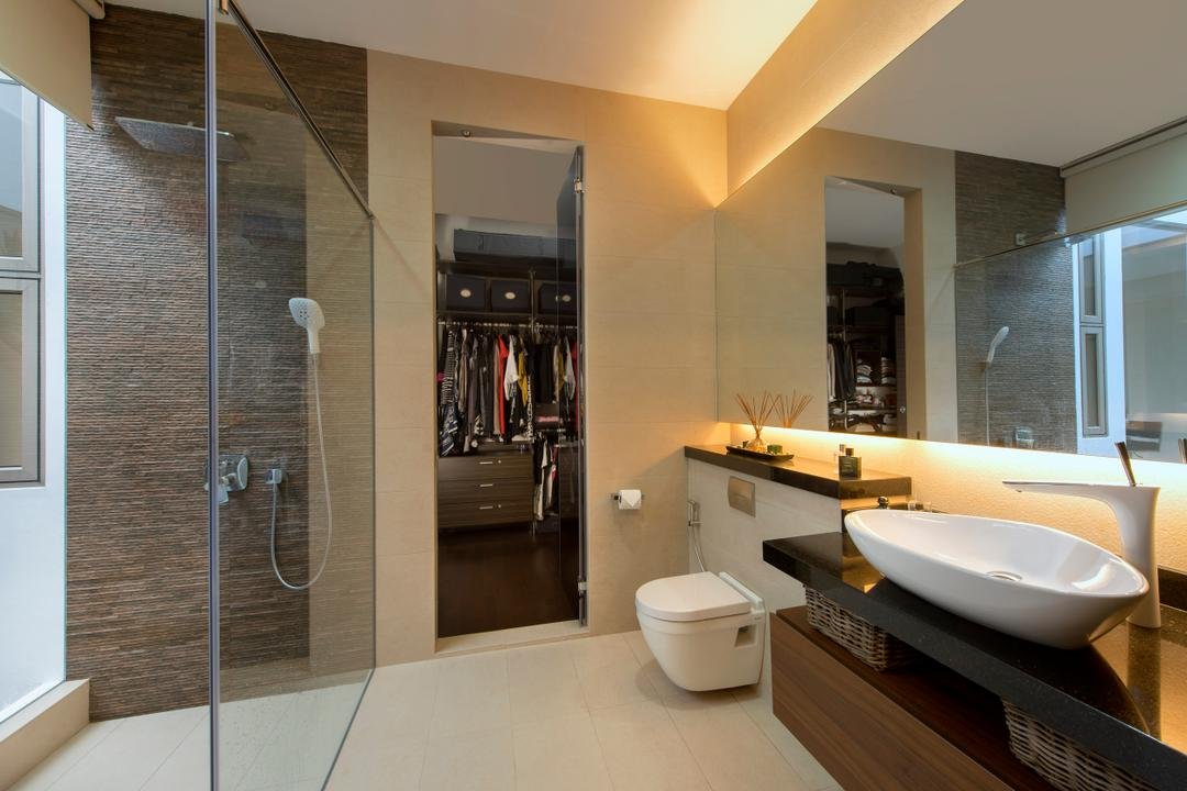 Sirat Road, Beaux Monde, Modern, Bathroom, Landed, Modern Contemporary Bathroom, Hidden Interior Lighting, Black Sink Countertop, Protruding Sink, Glass Panelled Shower, Toilet, Indoors, Interior Design, Room, Sink