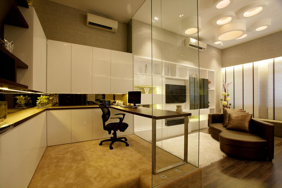 Beaux Monde Show Room (Ubi), Beaux Monde, Contemporary, Commercial, Glass Panel, White Cabinet, Low Back Seat, Wooden Desk, Wooden Laminated Top, Recessed Lights, Wooden Floor, Couch, Furniture, Hardwood, Wood, Indoors, Interior Design, Lighting, Desk, Table
