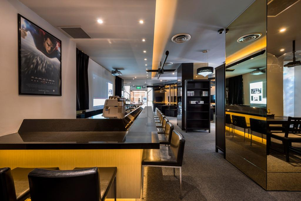 Screen Bar, Commercial, Interior Designer, One Design Werkz, Traditional, Wall Portrait, Concealed Lighting, Recessed Lighting, Mirror, Black Table Top, Bar Top, Black Cushioned Chairs