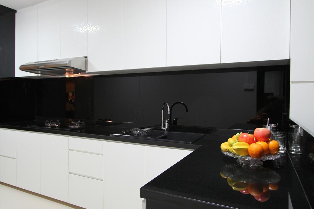 Tampines, Beaux Monde, Modern, Kitchen, HDB, Modern Contemporary Kitchen, Monochrome, White Kitchen Cabinet, Black Kitchen Countertop, White Kitchen Cupboard