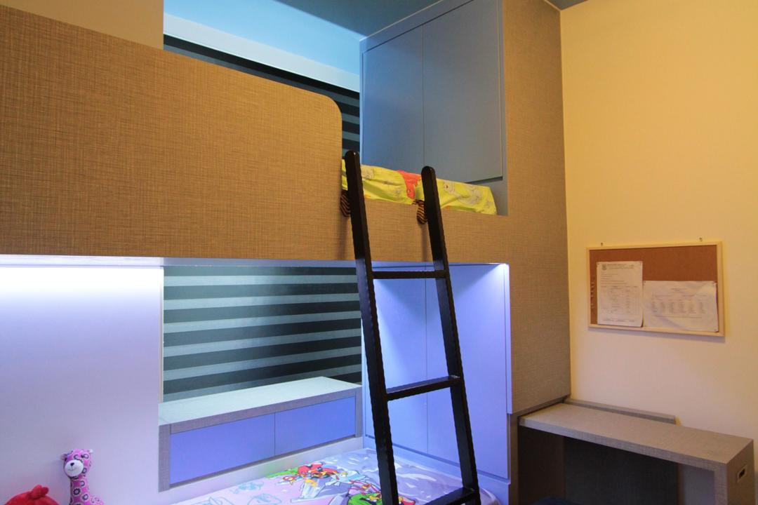 The Estury, Beaux Monde, Contemporary, Bedroom, Condo, Double Decker Bed, Ceiling Light, Wooden Floor