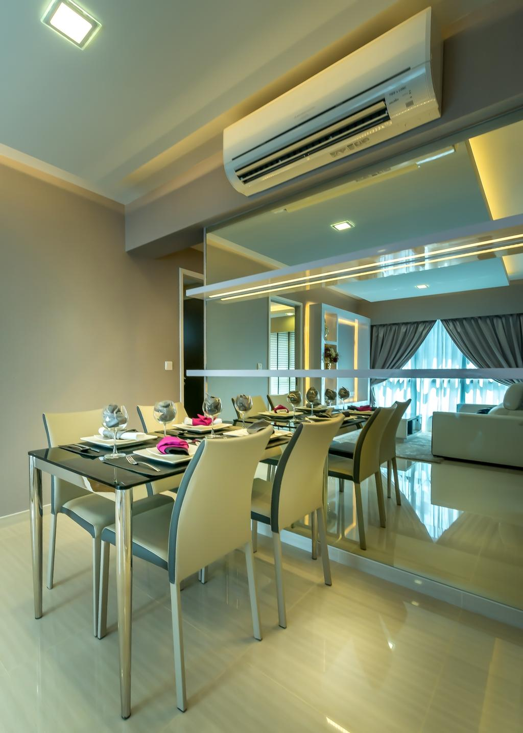 Modern, HDB, Dining Room, Trivelis, Interior Designer, One Design Werkz, Air Con, Dining Table And Chairs, Mirror, Full Length Mirror, Wall Mounted Shelf, Black Dining Table Top, Neutral Palette