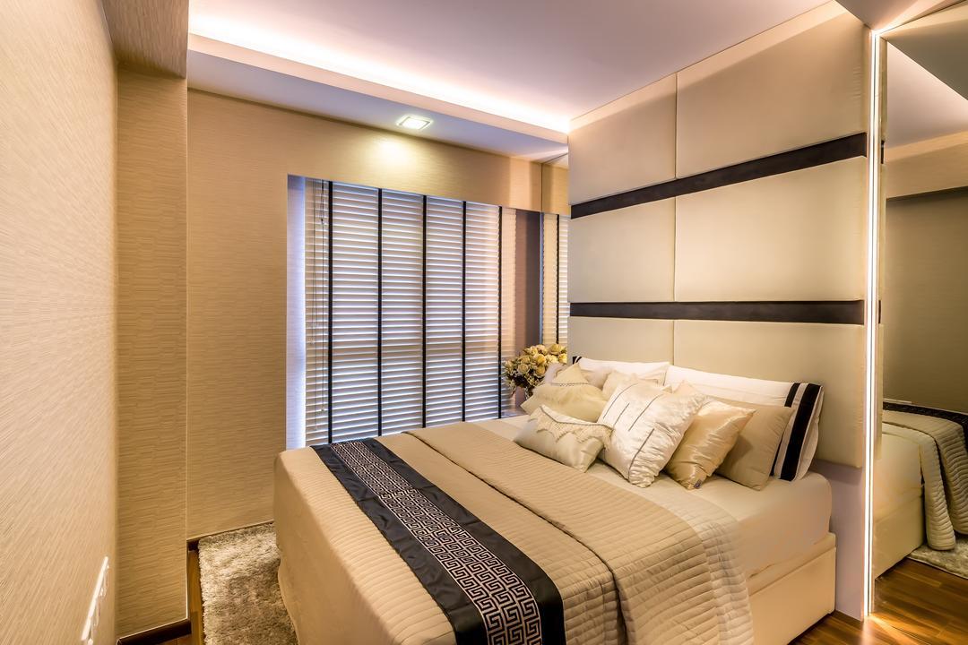 Trivelis, One Design Werkz, Modern, Bedroom, HDB, Concealed Lighting, Recessed Lighting, Brown Flooring, Full Length Mirror, Blinds, Fur Rug, Cushioned Headboard, Black White Headboard, High Headboard