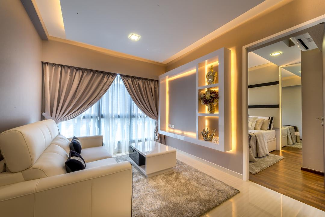 Trivelis, One Design Werkz, Modern, Living Room, HDB, Concealed Lighting, Recessed Lighting, Feature Wall, Open Shelf Display, Shelf Lighting, Rug, Carpet, White Coffee Table, Double Layer Curtain, White Leather Sofa