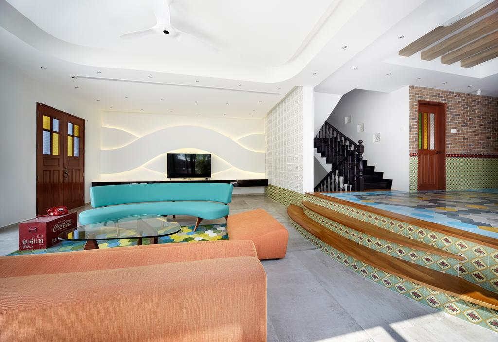 Eclectic, Landed, Aroozoo, Interior Designer, Free Space Intent, Banister, Handrail, Staircase, Couch, Furniture