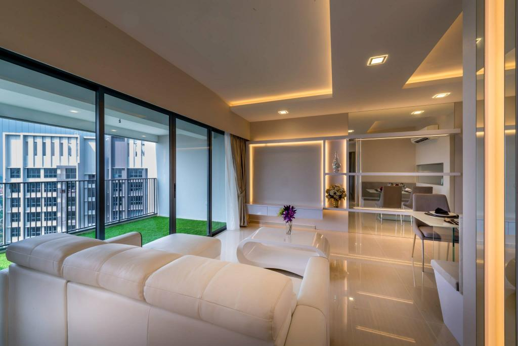 Modern, HDB, Living Room, Trivelis, Interior Designer, One Design Werkz, Recessed Lighting, Grass Rug, White Rug, L Shaped Sofa, Concealed Lighting, See Through Balcony, White, Classical, Sleek, Marble Florring, Glossy Floor, Carpet Grass, Balcony
