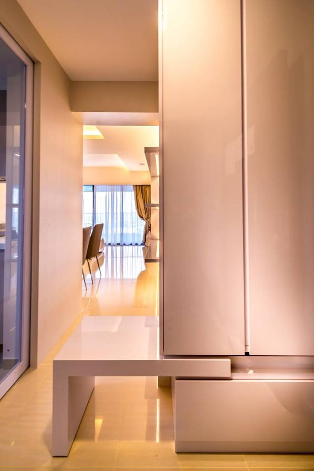 Modern, HDB, Living Room, Trivelis, Interior Designer, One Design Werkz, Corridor, Retractable Table, Pull Out Table, Pull Out Stand, White Cabinet, Hallway, Shoe Cabinet