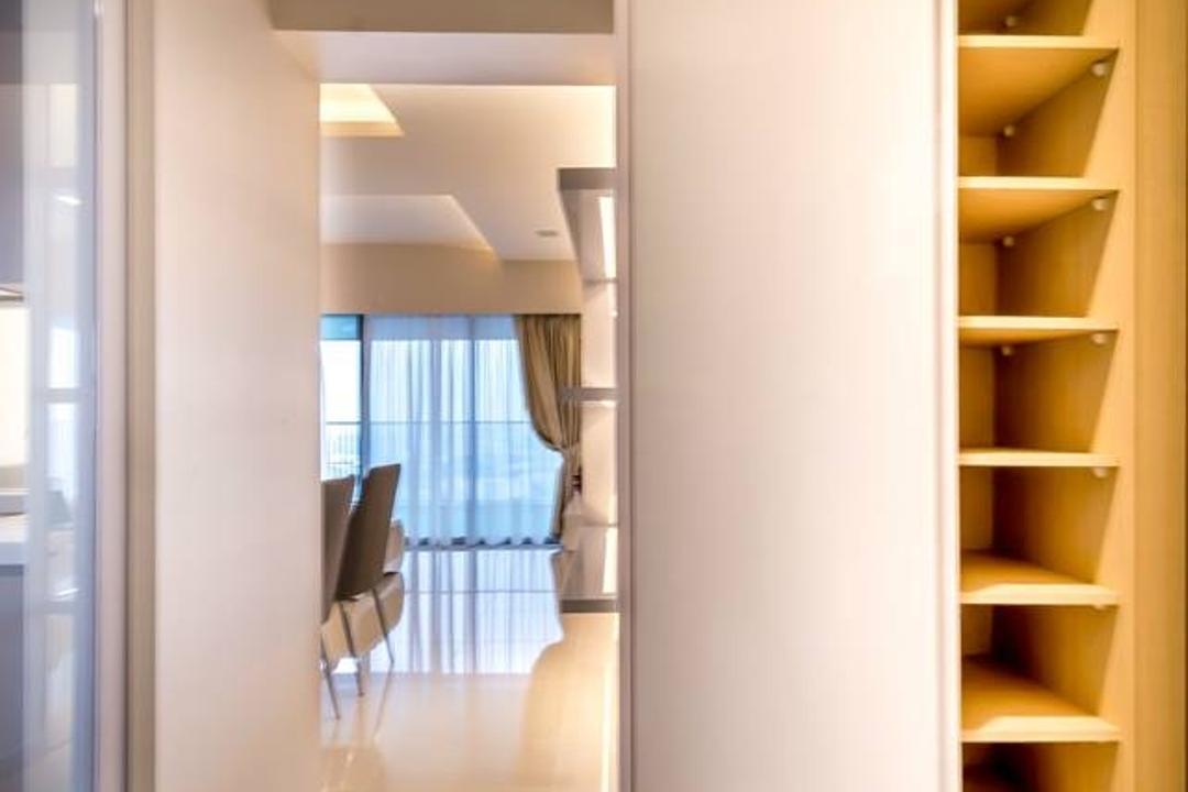 Trivelis, One Design Werkz, Modern, Living Room, HDB, Corridor, Brown Shelf, White Cabinet, Shoe Cabinet