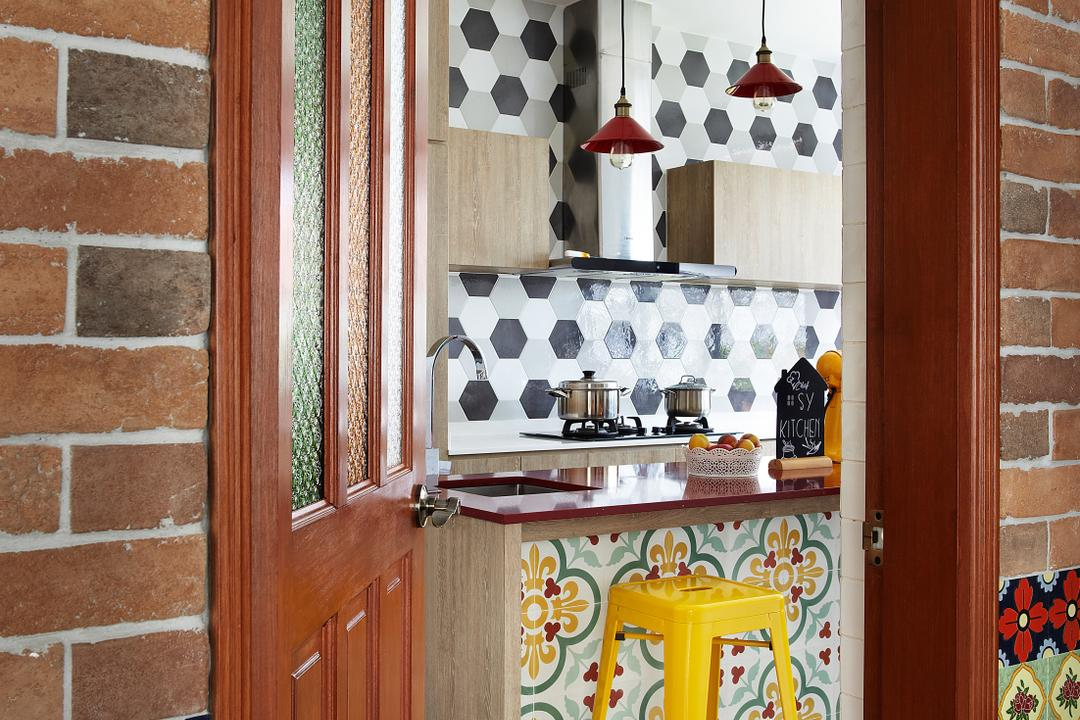 Aroozoo, Free Space Intent, Eclectic, Kitchen, Landed, Brick, Hardwood, Stained Wood, Wood, Cabinet, China Cabinet, Furniture