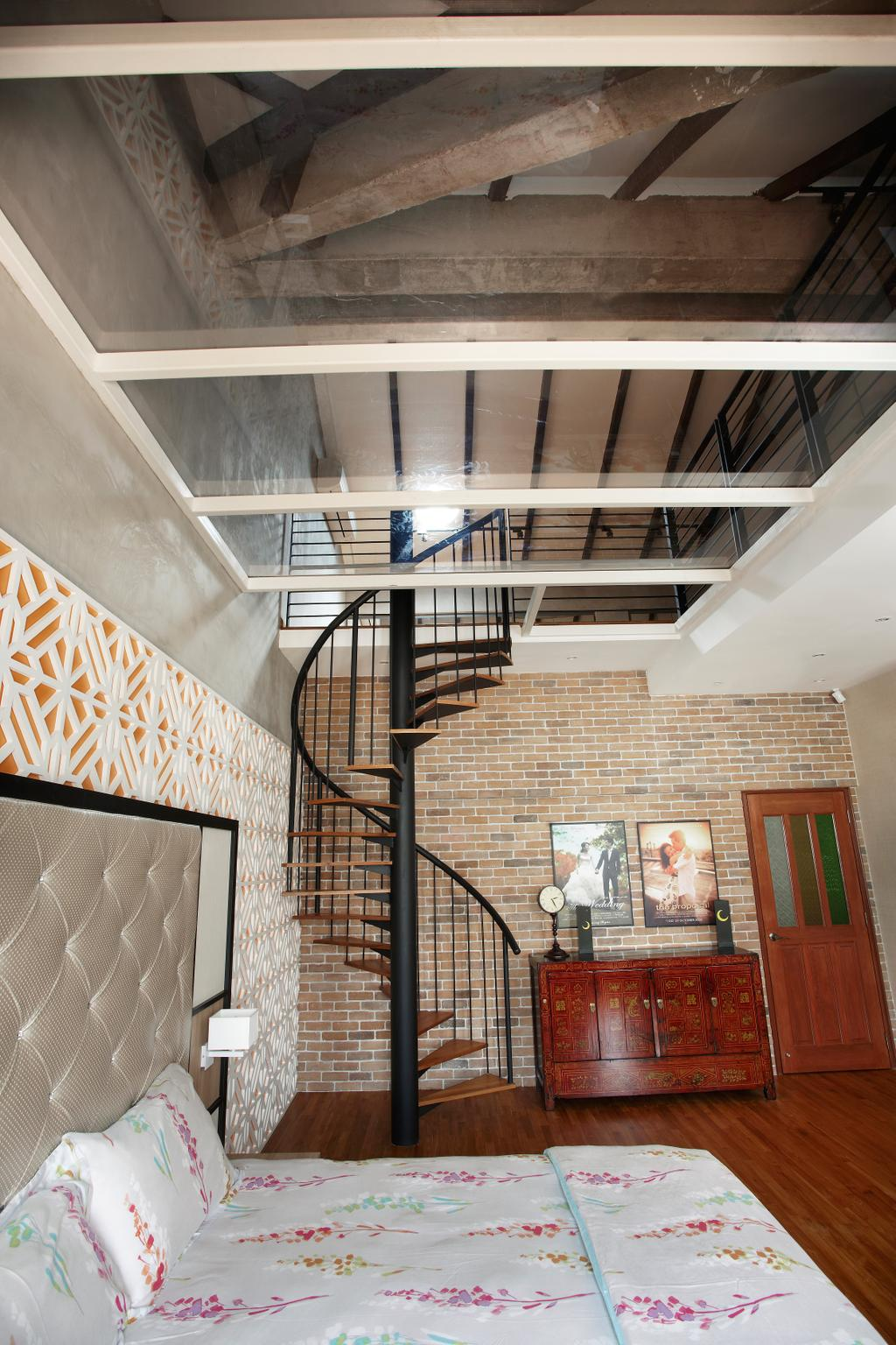 Eclectic, Landed, Bedroom, Aroozoo, Interior Designer, Free Space Intent, Banister, Handrail, Staircase, Brick, Wall