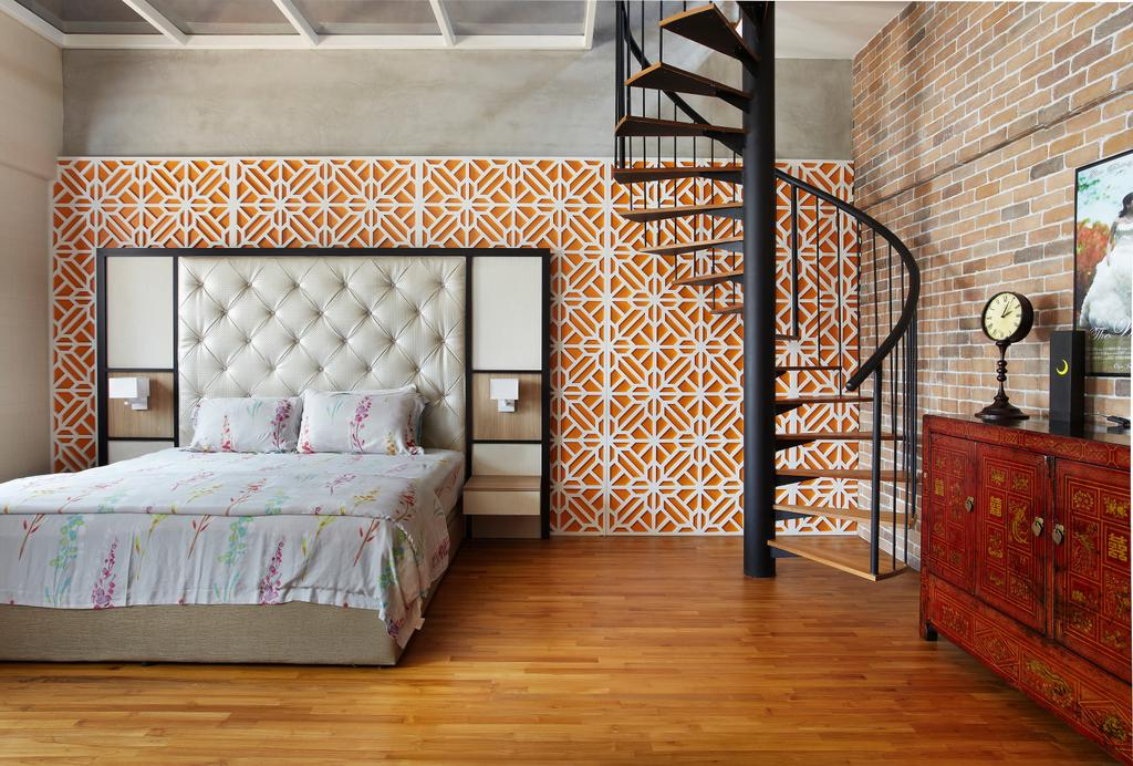 Eclectic, Landed, Bedroom, Aroozoo, Interior Designer, Free Space Intent, Furniture, Sideboard, Bed, HDB, Building, Housing, Indoors, Loft, Interior Design