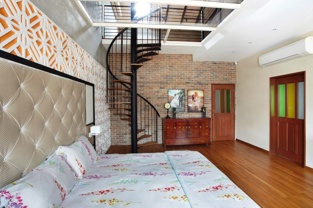 Eclectic, Landed, Bedroom, Aroozoo, Interior Designer, Free Space Intent, Bed, Furniture