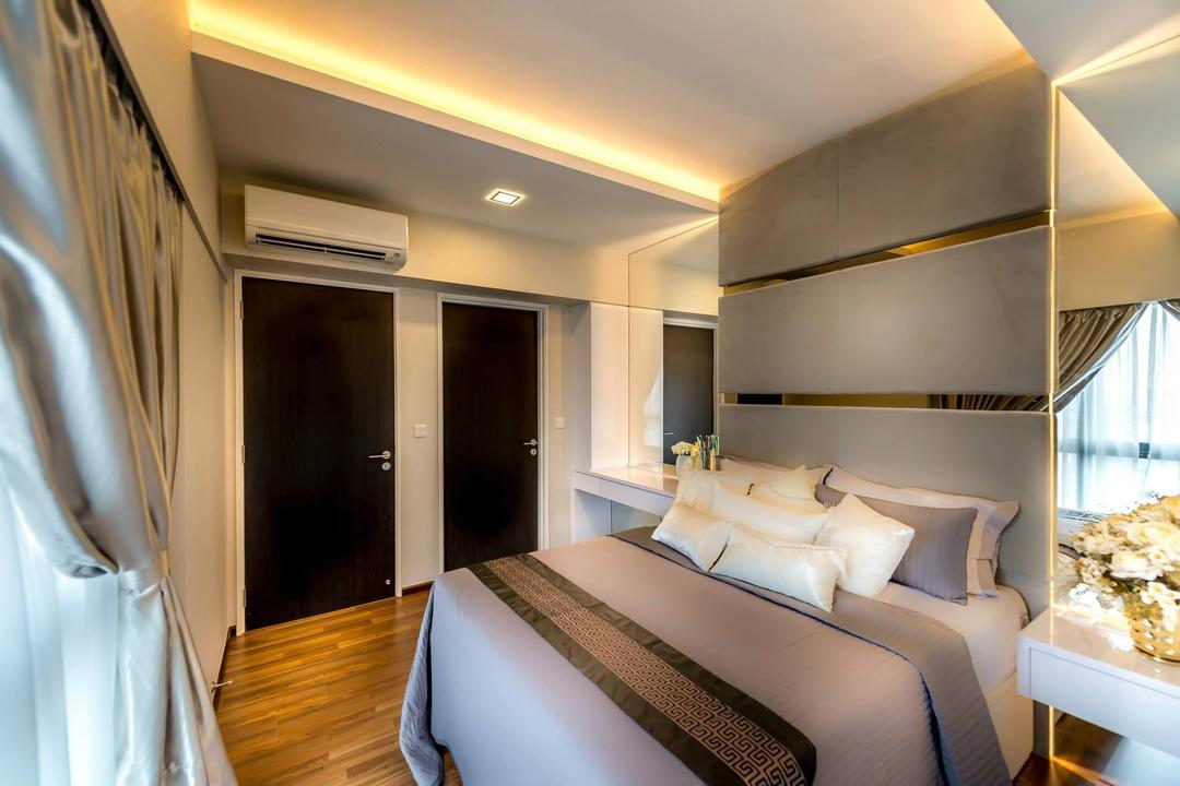 Trivelis, One Design Werkz, Modern, Bedroom, HDB, Concealed Lighting, Wooden Flooring, High Headboard, Mirrors