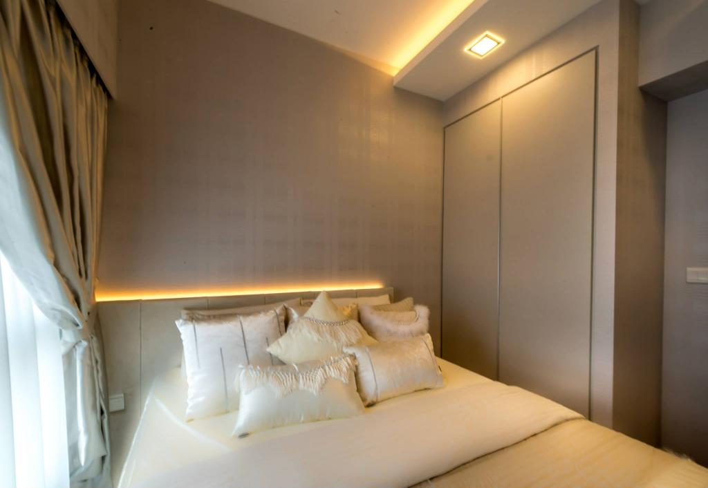 Modern, HDB, Bedroom, Trivelis, Interior Designer, One Design Werkz, Concealed Lighting, Concealed Bed Lighting, Wallpaper, Drawn Curtains, Wardrobe, Nude, Neutral, Beige, Classic, Pillow, Soft Furnishings