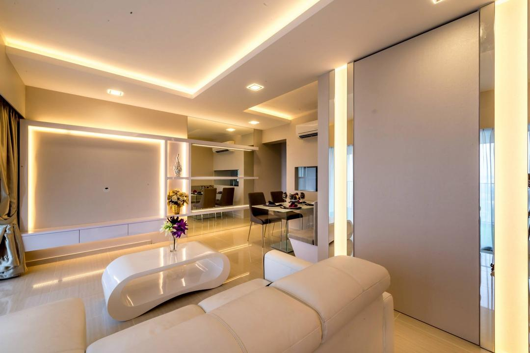 Trivelis, One Design Werkz, Modern, Living Room, HDB, Concealed Lighting, Recessed Lighting, White Sofa, White Coffee Table, White Theme, Shadowed Lighting, Sofa