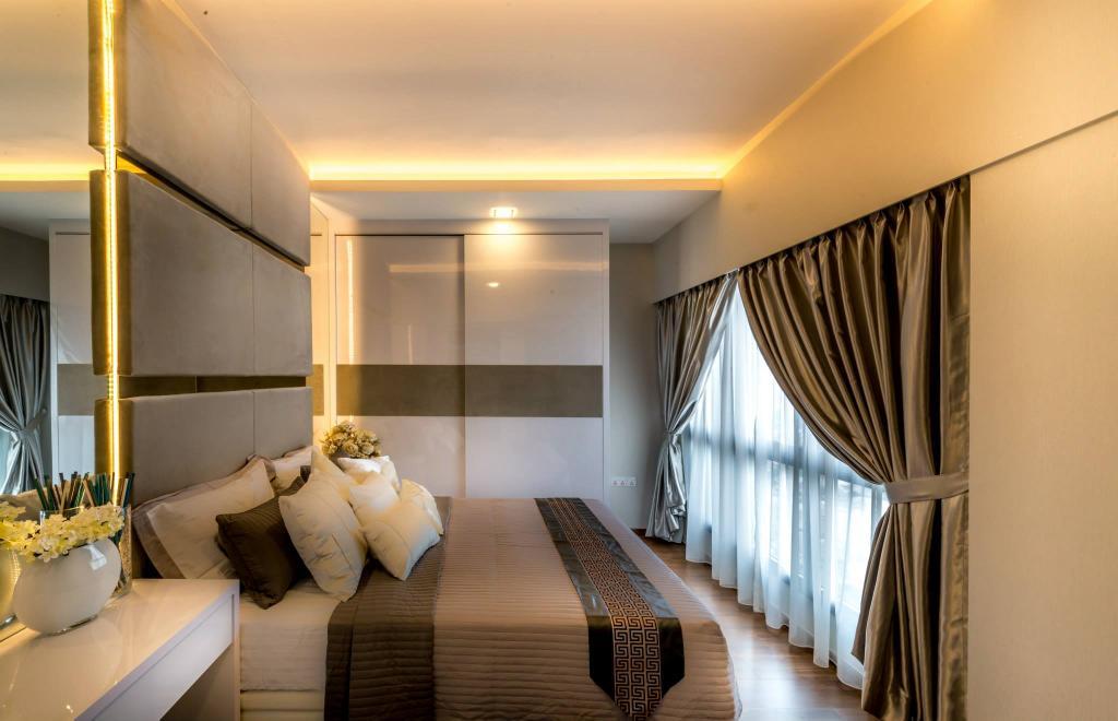 Modern, HDB, Bedroom, Trivelis, Interior Designer, One Design Werkz, Double Layer Curtains, Concealed Lighting, High Headboard, Mirror, Ambient Lighting