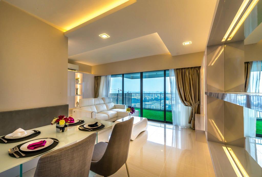 Modern, HDB, Dining Room, Trivelis, Interior Designer, One Design Werkz, Concealed Lighting, Recessed Lighting, Mirror, White Dining Table, Curtain, Spotlight