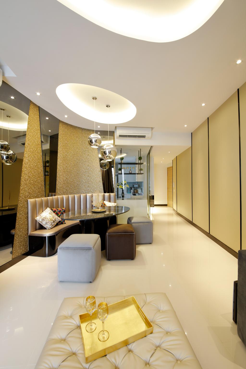 Modern, Condo, Dining Room, D'Leedon, Interior Designer, Free Space Intent, Eclectic, Contemporary, Indoors, Interior Design, Room, Couch, Furniture, Arch, Arched, Architecture, Building, Vault Ceiling, Dining Table, Table