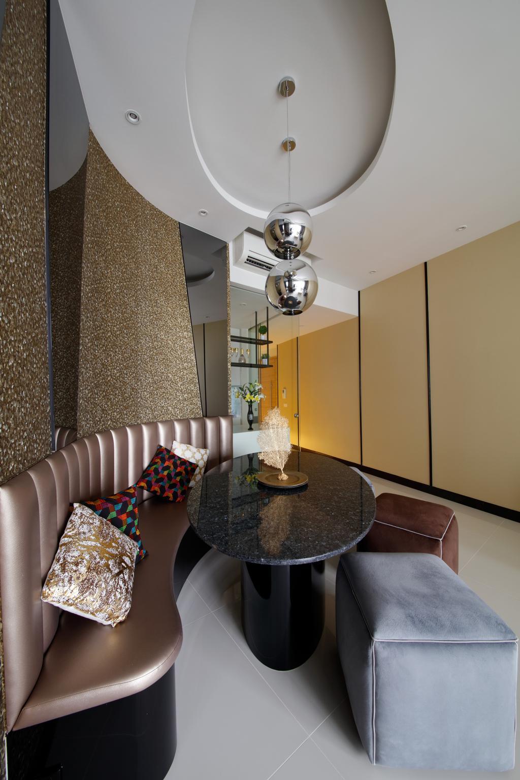 Modern, Condo, Dining Room, D'Leedon, Interior Designer, Free Space Intent, Eclectic, Contemporary, Indoors, Interior Design, Room, Chandelier, Lamp