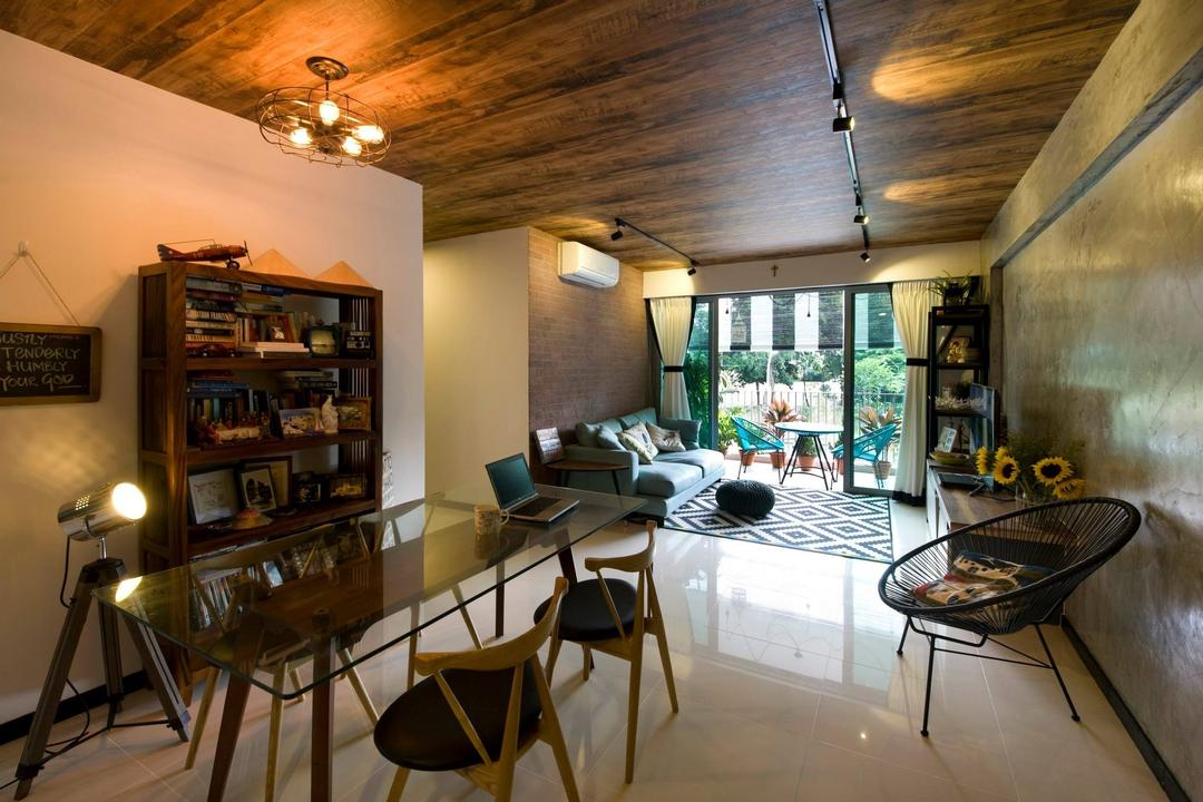 Upper Serangoon Crescent (Block 475C), Hue Concept Interior Design, Eclectic, Living Room, HDB, Wood Theme, Ceiling Lighting, Armless Chair, Glass Table Top, Oval Chair, Open Shelf, Carpeting, Pendant Lighting, Tripod, Chair, Furniture, Dining Table, Table, Bookcase