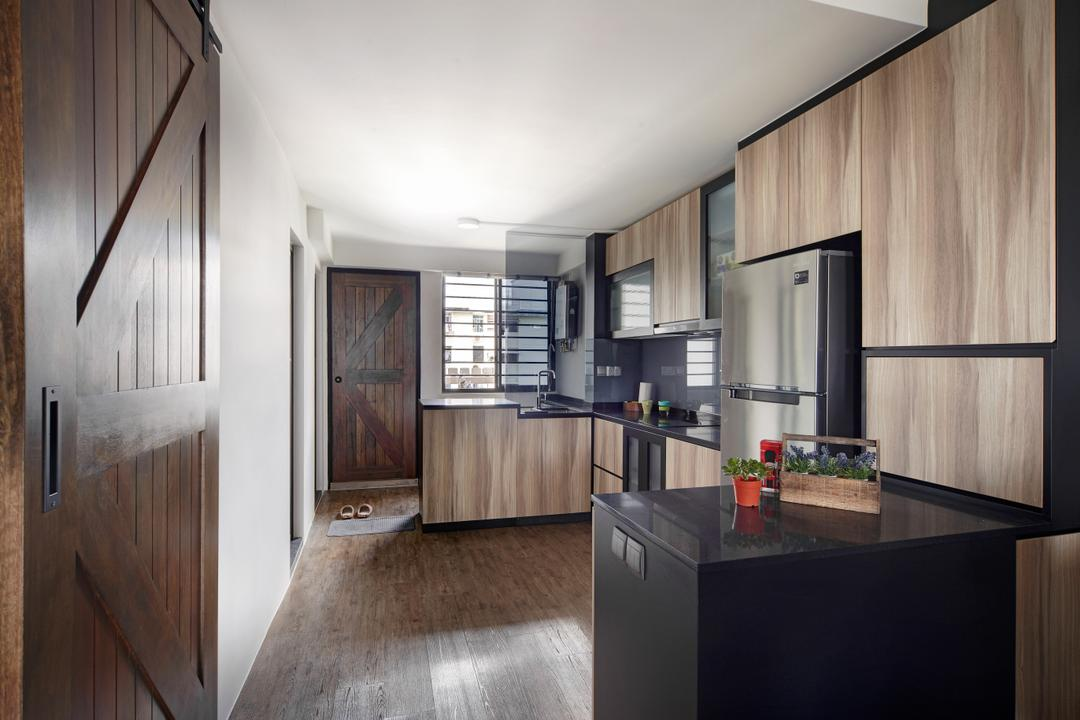 Haig Road, Free Space Intent, Modern, Eclectic, Kitchen, HDB, Modern Contemporary Kitchen, Wooden Floor, Wooden Kitchen Cabinet, Wooden Kitchen Cupboard, Black Laminated Top, Black Kitchen Countertop, Appliance, Electrical Device, Fridge, Refrigerator