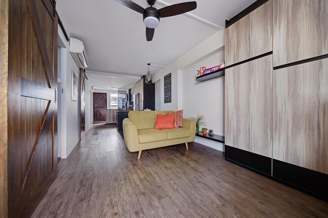 Haig Road, Free Space Intent, Modern, Eclectic, Living Room, HDB, Modern Contemporary Living Room, Wooden Floor, Ceiling Fan, Wooden Wall, Wall Mounted Shelves, Yellow Loveseat, Light Fixture