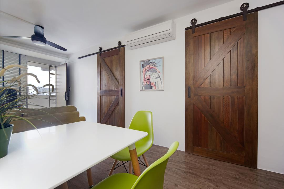 Haig Road, Free Space Intent, Modern, Eclectic, Dining Room, HDB, Modern Contemporary Dinign Room, White Dining Table, Green Dining Chair, Ceiling Fan, Wooden Floor, Wooden Door, Chair, Furniture, Indoors, Interior Design, Room, Building, Housing