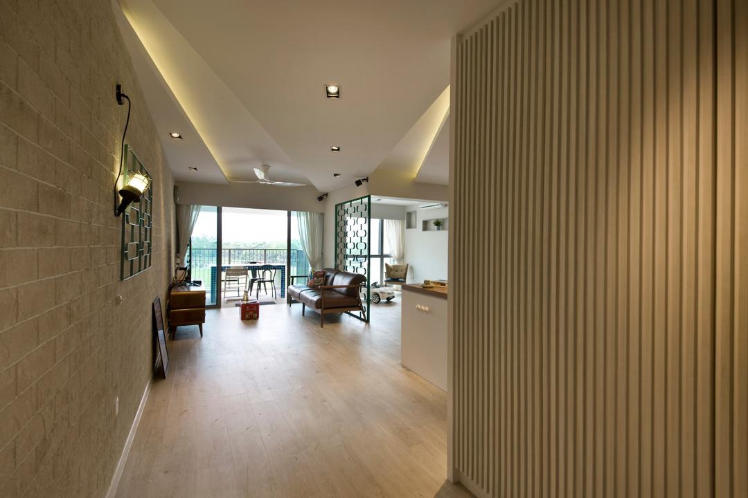 Centrale 8 (Tampines), Space Define Interior, Contemporary, Living Room, HDB, Wooden Beams, Laminate Flooring, Brown Walls, Brick Wall, Concealed Lighting, False Ceiling, Recessed Lighting, Flooring