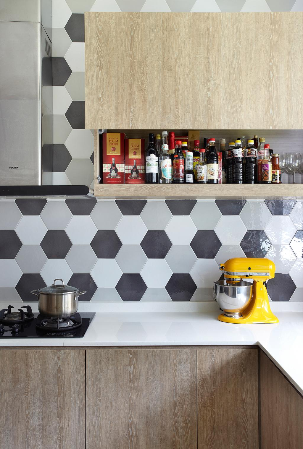 Eclectic, Landed, Kitchen, Aroozoo, Interior Designer, Free Space Intent