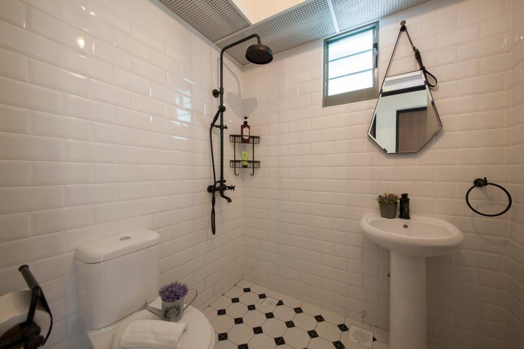 Scandinavian, HDB, Bathroom, Punggol Drive (Block 676D), Interior Designer, Ark Interior, White Brick Walls, Modern Contemporary Bathroom, White Sink, Indoors, Interior Design, Room, Architecture, Building, Skylight, Window