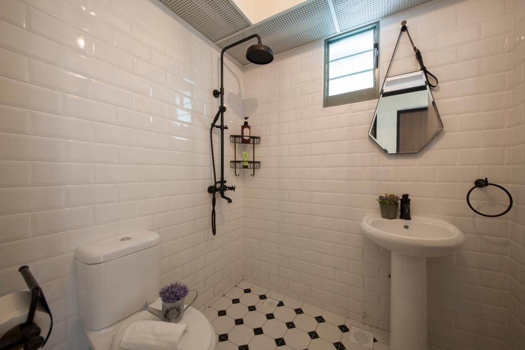 Punggol Drive (Block 676D), Ark Interior, Scandinavian, Bathroom, HDB, White Brick Walls, Modern Contemporary Bathroom, White Sink, Indoors, Interior Design, Room, Architecture, Building, Skylight, Window
