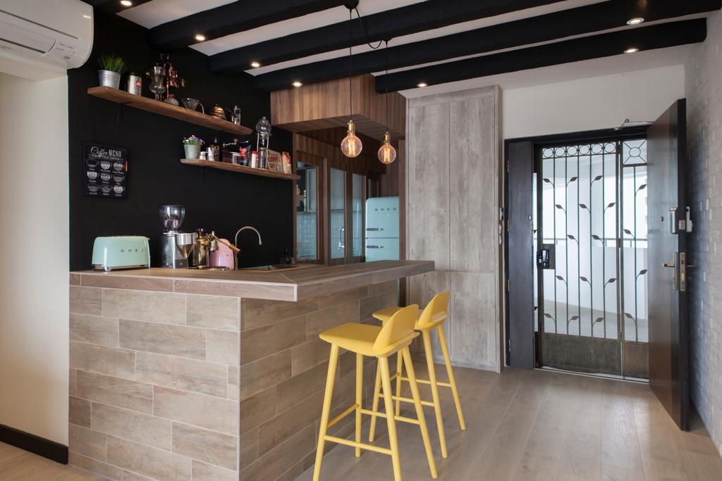 Scandinavian, HDB, Kitchen, Punggol Drive (Block 676D), Interior Designer, Ark Interior, Chair, Furniture, Dining Table, Table, Building, Housing, Indoors, Loft