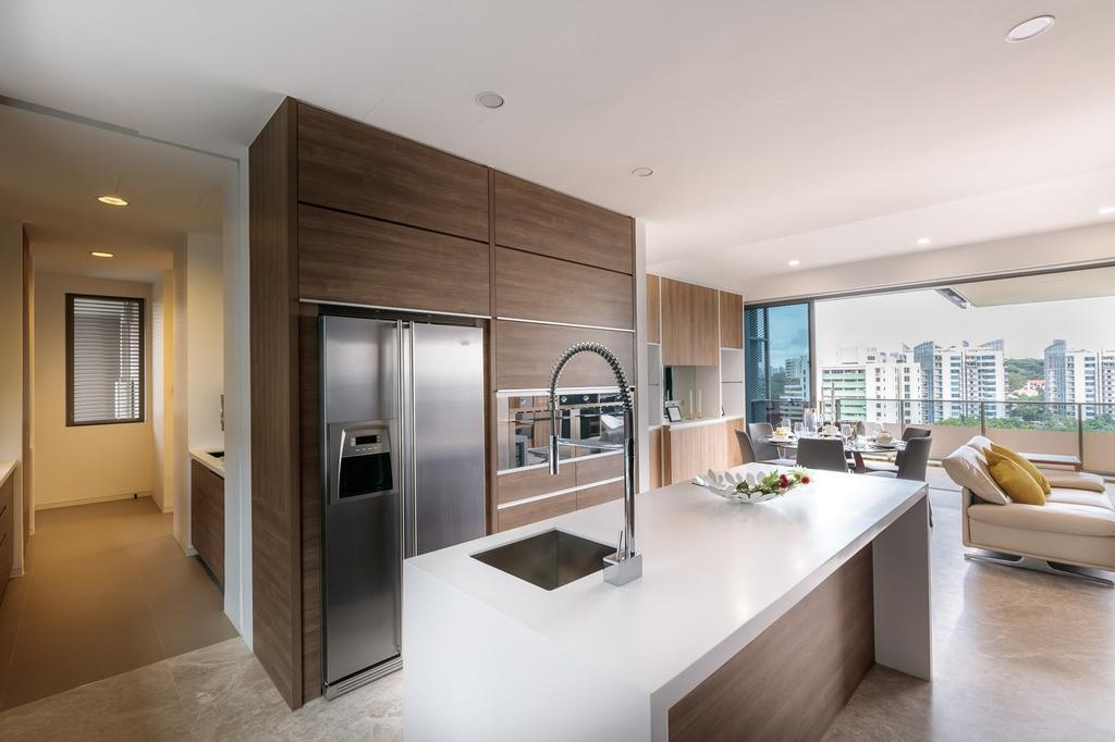 Minimalistic, Condo, Kitchen, Leedon Residences, Interior Designer, Ark Interior, Indoors, Interior Design, Flooring, Appliance, Electrical Device, Fridge, Refrigerator