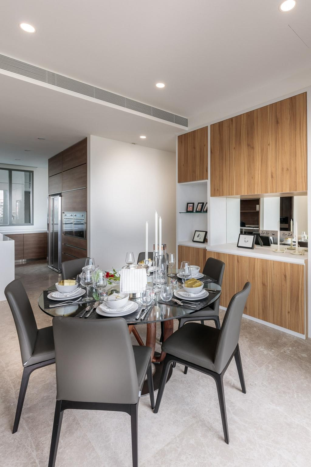 Minimalistic, Condo, Dining Room, Leedon Residences, Interior Designer, Ark Interior, Modern Contemporary Dining Room, Round Circle Dining Table, Dinig Chair, Recessed Lights, Indoors, Interior Design, Room, Kitchen, Dining Table, Furniture, Table, Couch, Chair